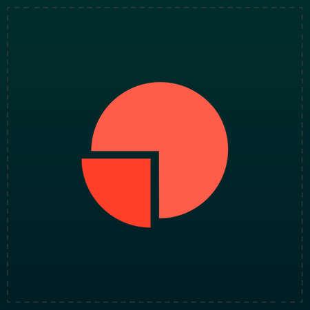 case studies: Pie chart. Color symbol icon on black background. Vector illustration