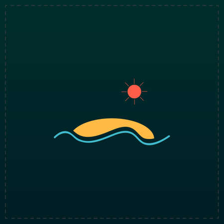 Silhouette island. Color symbol icon on black background. Vector illustration Illustration