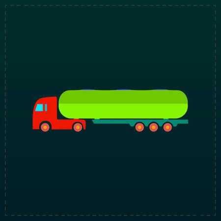 crisper: Tank car. Trailer Color symbol icon on black background. Vector illustration