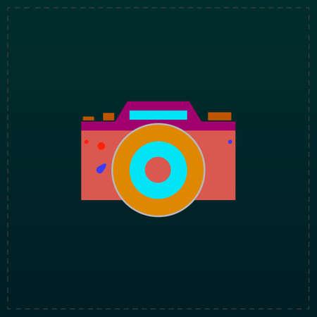 Digital photo camera Color symbol icon on black background. Vector illustration