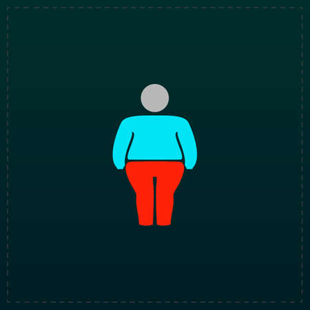 stocky: Overweight man symbol. Color symbol icon on black background. Vector illustration Illustration