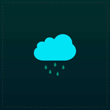 drench: Cloud with rain. Color symbol icon on black background. Vector illustration Vectores