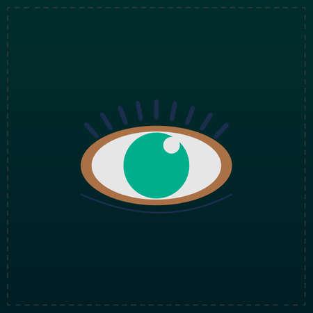 human eye: Human eye. Color symbol icon on black background. Vector illustration