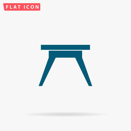 soiree: Camping table Icon Vector. Flat simple Blue pictogram on white background. Illustration symbol with shadow Illustration