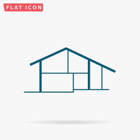 residency: House Icon Vector. Flat simple Blue pictogram on white background. Illustration symbol with shadow