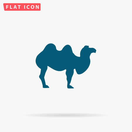 Camel Icon Vector. Flat simple Blue pictogram on white background. Illustration symbol with shadow
