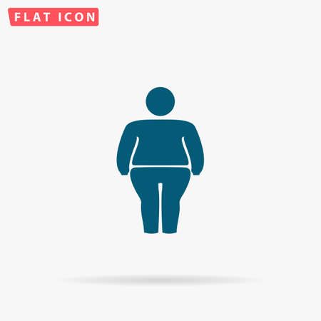 stocky: Fatso Icon Vector. Flat simple Blue pictogram on white background. Illustration symbol with shadow