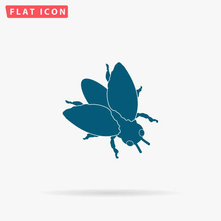 Fly Icon Vector. Flat simple Blue pictogram on white background. Illustration symbol with shadow