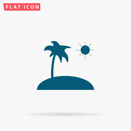 Island Icon Vector. Flat simple Blue pictogram on white background. Illustration symbol with shadow
