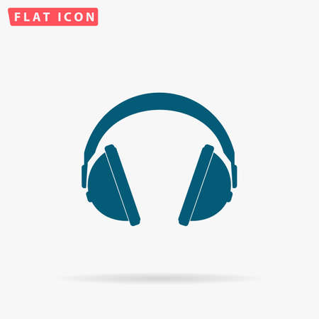 Earphones Icon Vector. Flat simple Blue pictogram on white background. Illustration symbol with shadow Illustration