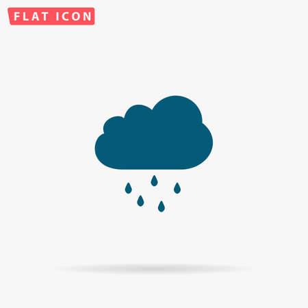 drench: Rain Icon Vector. Flat simple Blue pictogram on white background. Illustration symbol with shadow