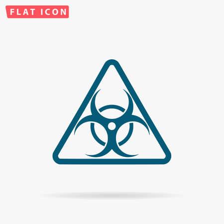 riesgo biologico: Bio hazard Icon Vector. Plano simple pictograma azul sobre fondo blanco. Símbolo de ilustración con sombra