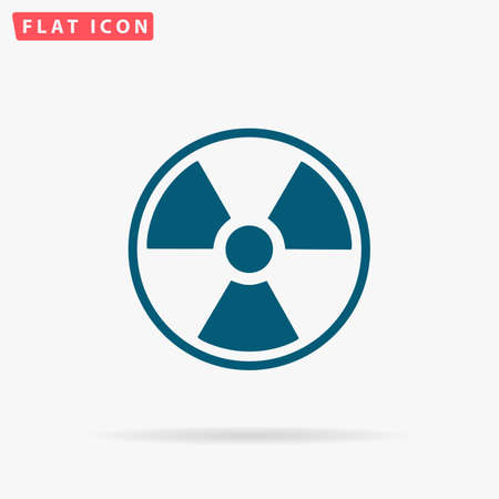 fission: Radiation Icon Vector. Flat simple Blue pictogram on white background. Illustration symbol with shadow