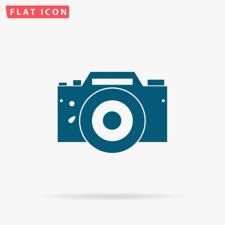 DSLR Icon Vector. Flat simple Blue pictogram on white background. Illustration symbol with shadow Illustration