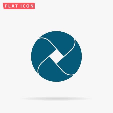 Loop circle Icon Vector. Flat simple Blue pictogram on white background. Illustration symbol with shadow