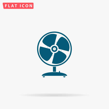 Fan Icon Vector. Flat simple Blue pictogram on white background. Illustration symbol with shadow Illustration