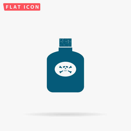 poison symbol: Poison Icon Vector. Flat simple Blue pictogram on white background. Illustration symbol with shadow
