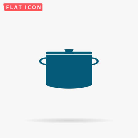 borscht: Pot Icon Vector. Flat simple Blue pictogram on white background. Illustration symbol with shadow