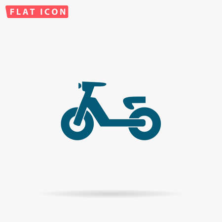 Moped Icon Vector. Flat simple Blue pictogram on white background. Illustration symbol with shadow