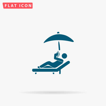 woman laying down: Sunbathe Icon Vector. Flat simple Blue pictogram on white background. Illustration symbol with shadow Illustration
