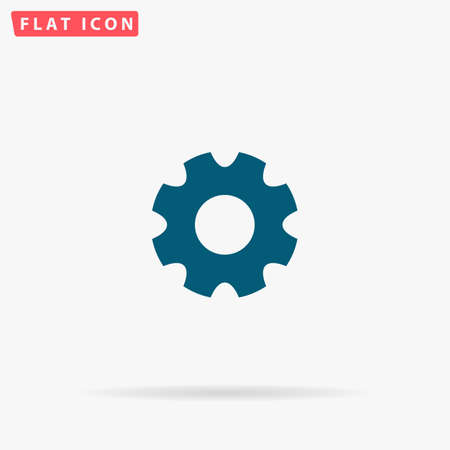 rackwheel: Gear Icon Vector. Flat simple Blue pictogram on white background. Illustration symbol with shadow