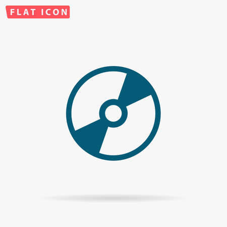 dvd: Disk Icon Vector. Flat simple Blue pictogram on white background. Illustration symbol with shadow