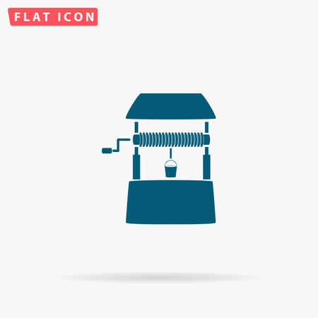 pulley: Well Icon Vector. Flat simple Blue pictogram on white background. Illustration symbol with shadow Illustration