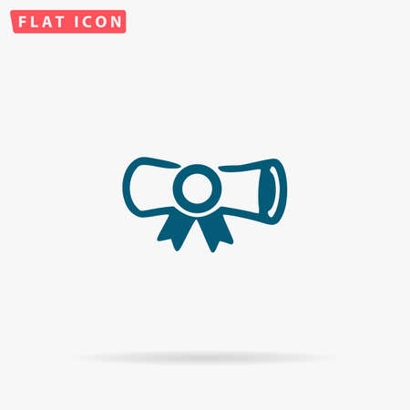 Diploma Icon Vector. Flat simple Blue pictogram on white background. Illustration symbol with shadow Illustration