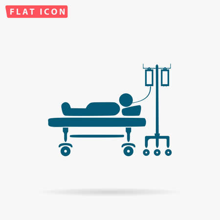 hospitalization: Patient Icon Vector. Flat simple Blue pictogram on white background. Illustration symbol with shadow