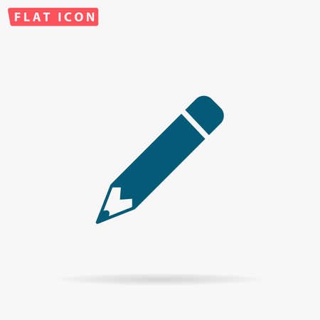 Pencil Icon Vector. Flat simple Blue pictogram on white background. Illustration symbol with shadow