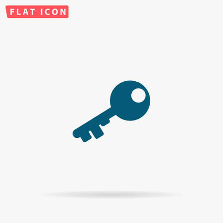 latchkey: Key Icon Vector. Flat simple Blue pictogram on white background. Illustration symbol with shadow