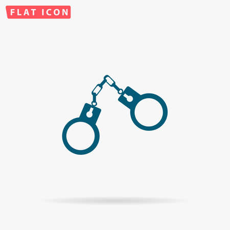 Handcuffs Icon Vector. Flat simple Blue pictogram on white background. Illustration symbol with shadow Illustration