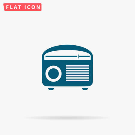 admiral: Tuner Icon Vector. Flat simple Blue pictogram on white background. Illustration symbol with shadow