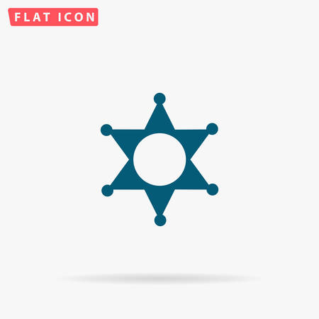 Police Icon Vector. Flat simple Blue pictogram on white background. Illustration symbol with shadow