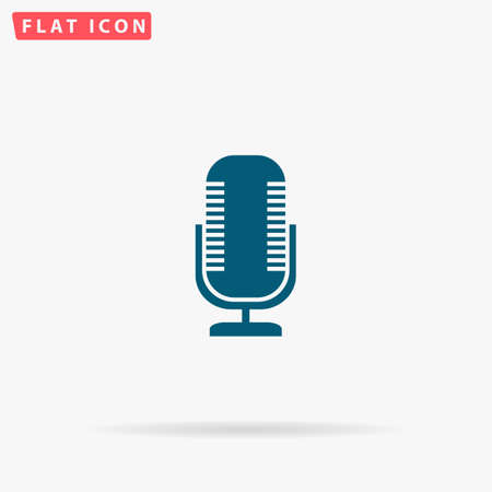 Microphone Icon Vector. Flat simple Blue pictogram on white background. Illustration symbol with shadow