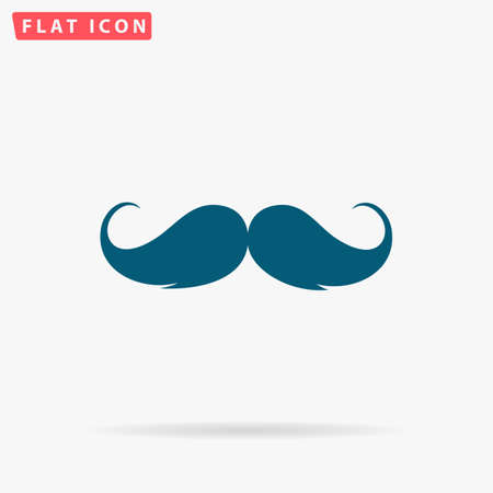 Whiskers Icon Vector. Flat simple Blue pictogram on white background. Illustration symbol with shadow