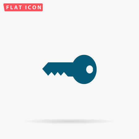 Key Icon Vector. Flat simple Blue pictogram on white background. Illustration symbol with shadow