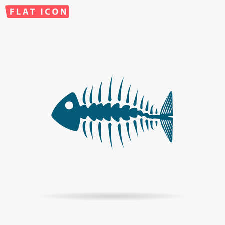 Fishbone Icon Vector. Flat simple Blue pictogram on white background. Illustration symbol with shadow