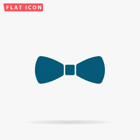 Bow Icon Vector. Flat simple Blue pictogram on white background. Illustration symbol with shadow