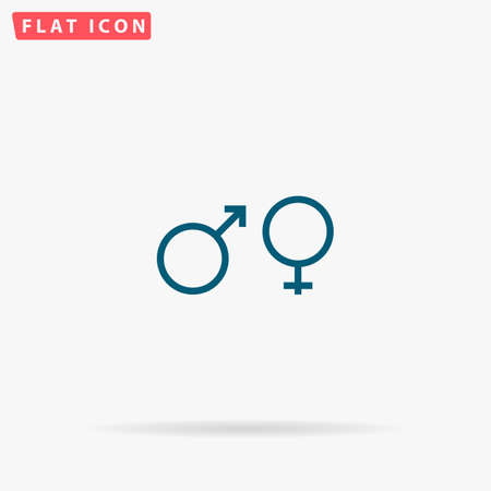 Sex Icon Vector. Flat simple Blue pictogram on white background. Illustration symbol with shadow