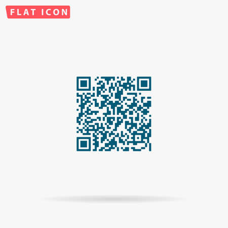 QR Icon Vector. Flat simple Blue pictogram on white background. Illustration symbol with shadow