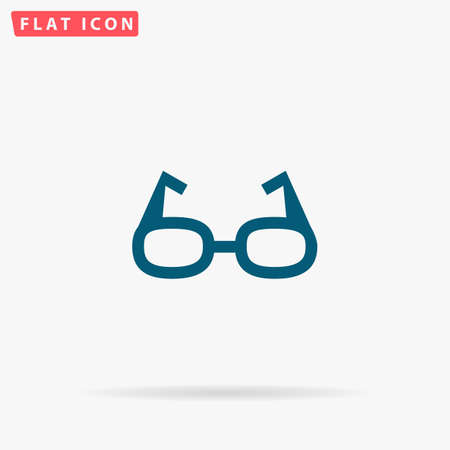 Glasses Icon Vector. Flat simple Blue pictogram on white background. Illustration symbol with shadow Vector Illustration