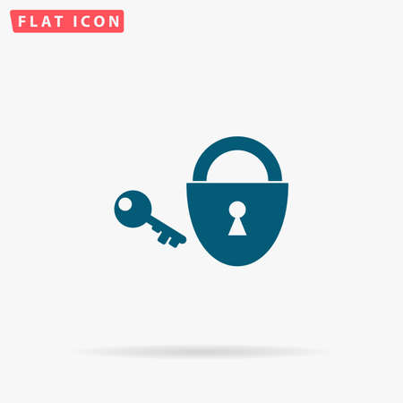 Lock key Icon Vector. Flat simple Blue pictogram on white background. Illustration symbol with shadow