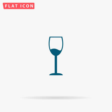 drinkware: Alcohol glass Icon Vector. Flat simple Blue pictogram on white background. Illustration symbol with shadow