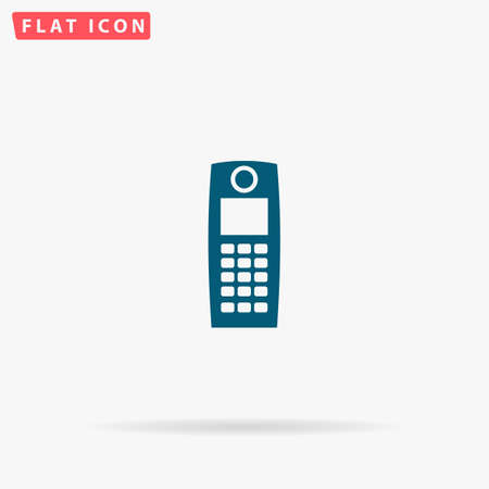 Phone Icon Vector. Flat simple Blue pictogram on white background. Illustration symbol with shadow Illustration