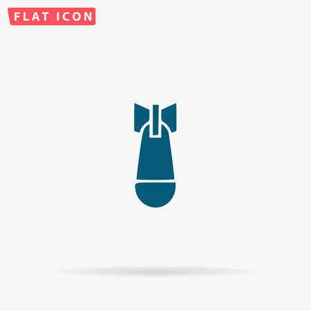 Bomb Icon Vector. Flat simple Blue pictogram on white background. Illustration symbol with shadow