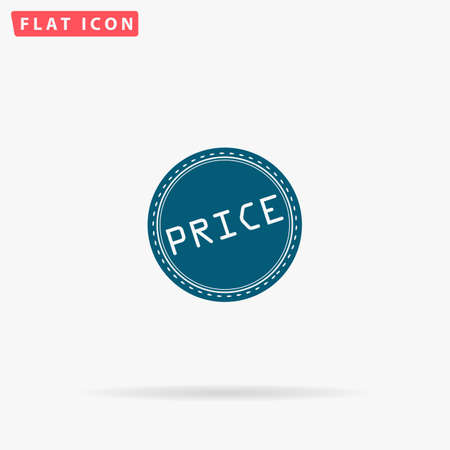 oh: Price Icon Vector. Flat simple Blue pictogram on white background. Illustration symbol with shadow