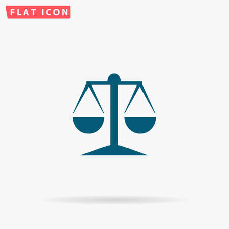 Scales Icon Vector. Flat simple Blue pictogram on white background. Illustration symbol with shadow