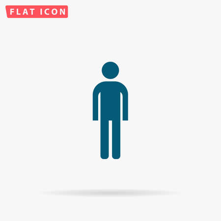 gents: Man Icon Vector. Flat simple Blue pictogram on white background. Illustration symbol with shadow