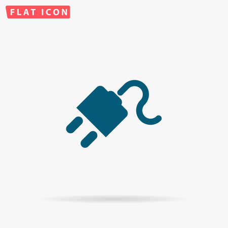 Plug Icon Vector. Flat simple Blue pictogram on white background. Illustration symbol with shadow